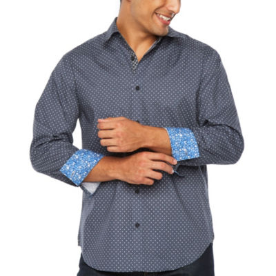 Society Of Threads Long Sleeve Dots Button-Front Shirt