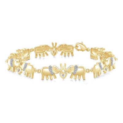 14K Gold Over Brass 8 1/2 Inch Solid Round Link Bracelet