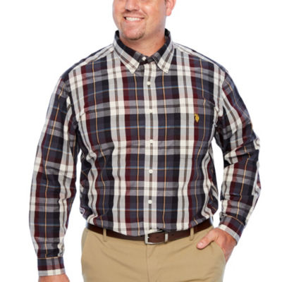 U.S. Polo Assn. Mens Y Neck Long Sleeve Plaid Button-Front Shirt-Big and Tall