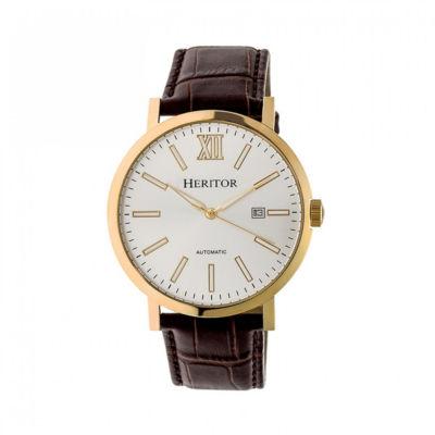 Heritor Bristol Mens Brown Strap Watch-Herhr5307