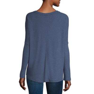 a.n.a Long Sleeve V Neck T-Shirt-Womens