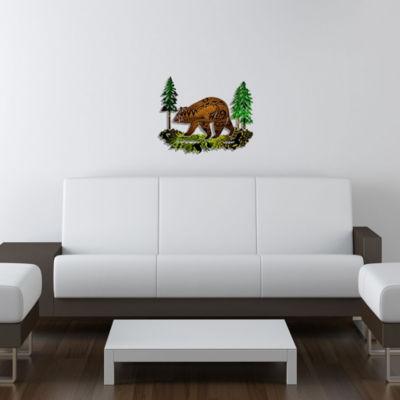 Metal Bear Wall Art Chestnut Medium Bear