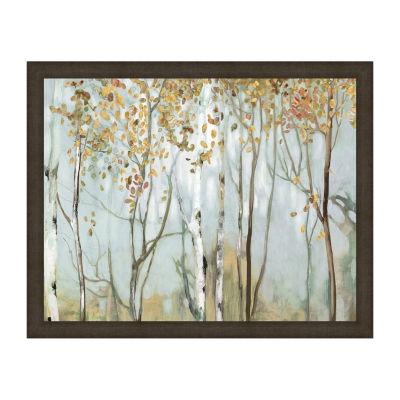 Birch In The Fog II Framed Canvas Art