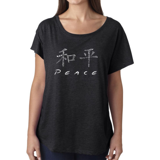 Los Angeles Pop Art Women's Loose Fit Dolman Cut Word Art Shirt - CHINESE PEACE SYMBOL