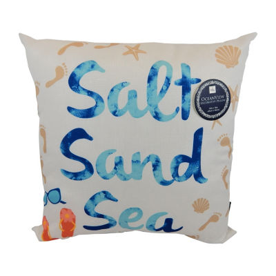 Salt Sand Sea Square Throw Pillow