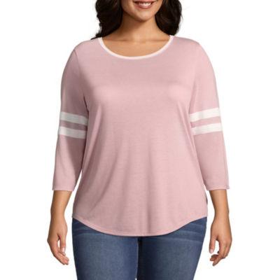 Arizona-Womens Round Neck 3/4 Sleeve T-Shirt Juniors Plus