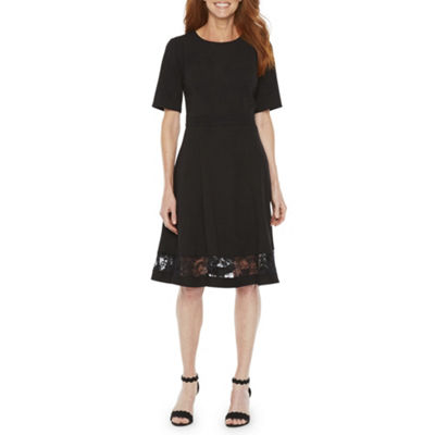 Liz Claiborne Short Sleeve Fit & Flare Dress