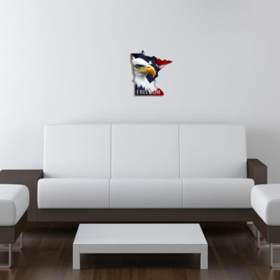 Metal Wall Art Minnesota State Shape Freedom Eagle