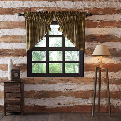 Rustic & Lodge Window Barrington Scalloped Prairie Swag Pair