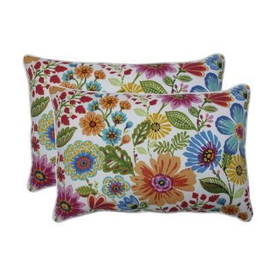 Pillow Perfect Gregoire Prima Set of 2 Oversized Rectangular Outdoor Throw Pillows