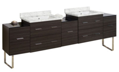88-in. W 17-in. D Modern Plywood-Melamine Vanity Base Set Only In Dawn Grey