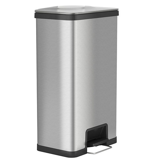 AirStep 18 Gallon Step-On Kitchen Trash Can, Stainless Steel, Odor Control System, Silent and Gentle Lid Close