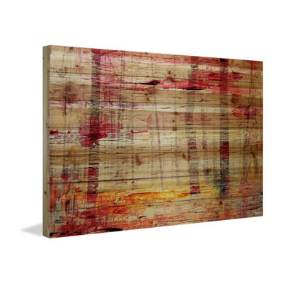 Floating Red Water Painting Print on Natural PineWood
