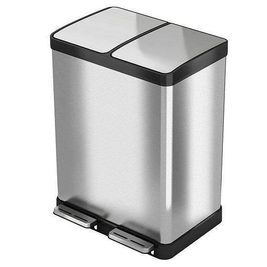 Halo 16 Gal Premium Stainless Steel Step Recycler Trash Can
