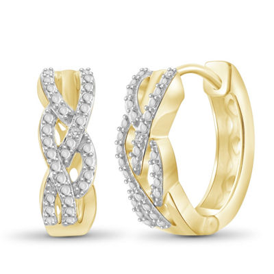 Diamond Accent White Diamond 14K Gold Over Brass 17.4mm Round Hoop Earrings