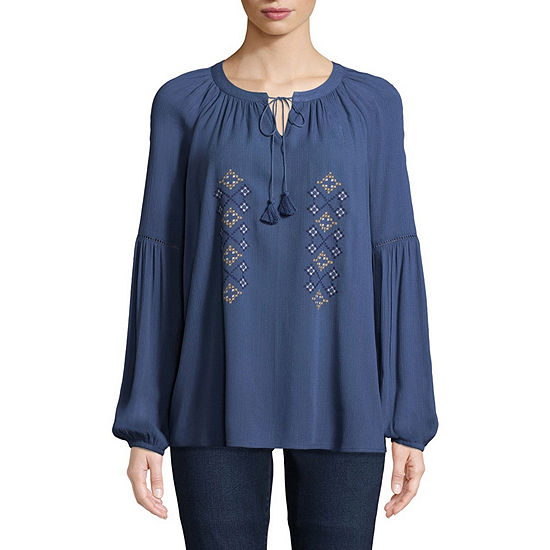 St. John's Bay Womens Split Crew Neck Long Sleeve Embellished Embroidered Blouse