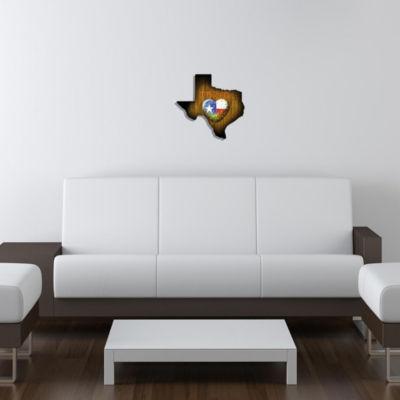 Metal Wall Art Texas State Shape Cactus Heart