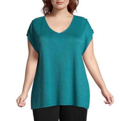 Worthington Short Sleeve V Neck T-Shirt - Plus