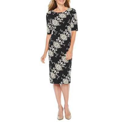 Ronni Nicole Short Sleeve Medallion Puff Print Sheath Dress