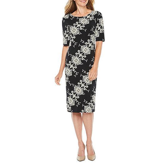 Ronni Nicole Short Sleeve Medallion Puff Print Sheath Dress