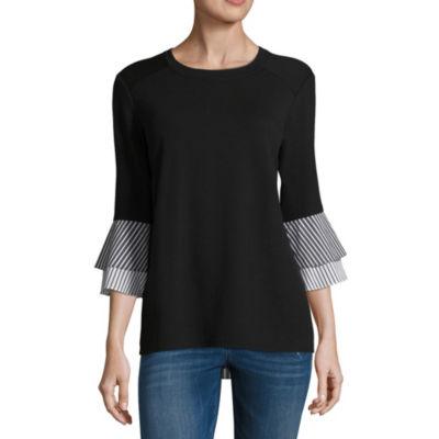 Alyx 3/4 Sleeve Round Neck Knit Blouse