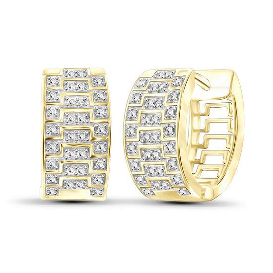 Diamond Accent White Diamond 14K Gold Over Brass 17.7mm Round Hoop Earrings