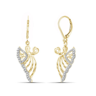 Diamond Accent White Diamond Brass Drop Earrings