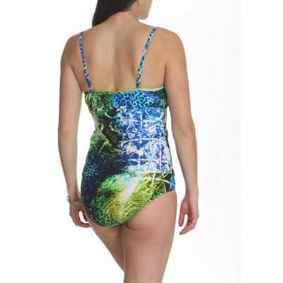 Sun and Sea Animal Attraction Tankini Top with Mesh Panel Insert