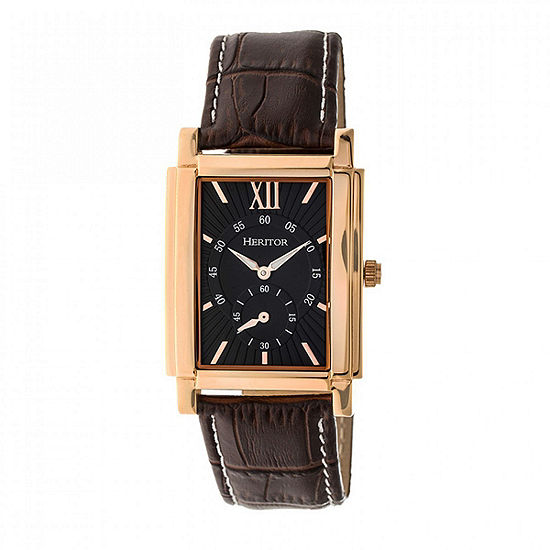 Heritor Frederick Mens Automatic Black Leather Strap Watch-Herhr6105