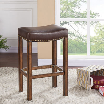 Armen Living Tudor Wood Backless Barstool in Faux Leather and Chestnut Finish