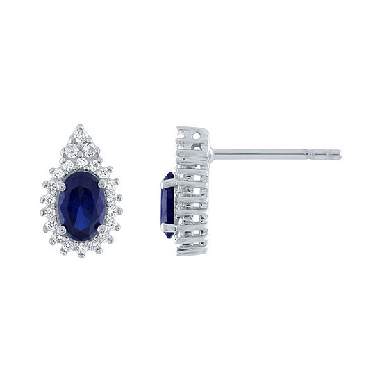 Lab Created Blue Sapphire Sterling Silver 11.8mm Stud Earrings