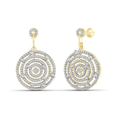 Diamond Accent White Diamond 14K Gold Over Brass Round Earring Jackets