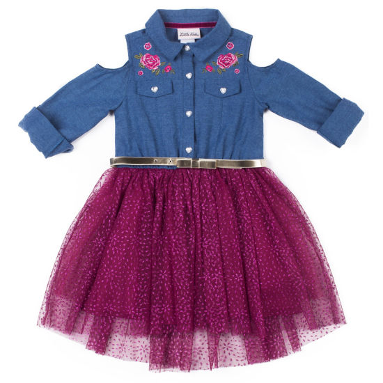Little Lass Short Sleeve Fitted Sleeve Tutu Dress - Toddler Girls