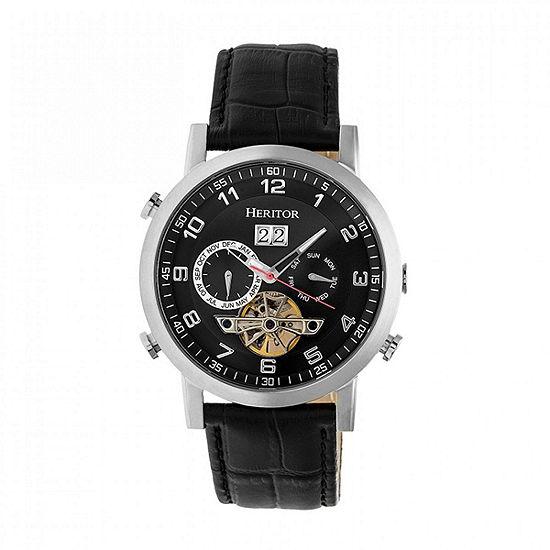 Heritor Edmond Mens Automatic Black Leather Strap Watch-Herhr6202