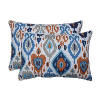 Pillow Perfect Paso Azure Set of 2 Oversized Rectangular Outdoor Throw Pillows