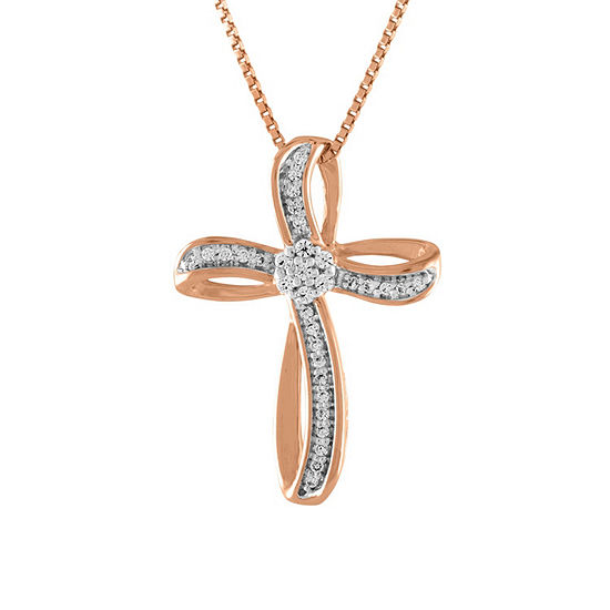 Diamond Blossom Womens 1/10 CT. T.W. Genuine White Diamond 14K Rose Gold Over Silver Cross Pendant Necklace