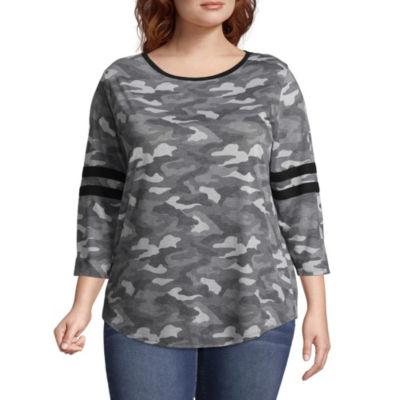 Arizona 3/4 Sleeve Round Neck Camouflage T-Shirt-Womens Juniors Plus