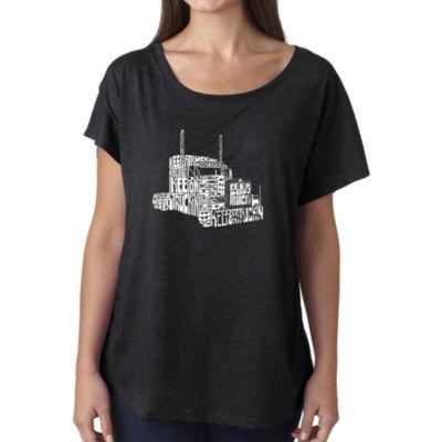 Los Angeles Pop Art Women's Loose Fit Dolman Cut Word Art Shirt - KEEP ON TRUCKIN'