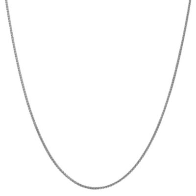 14K White Gold 16 Inch Semisolid Wheat Chain Necklace