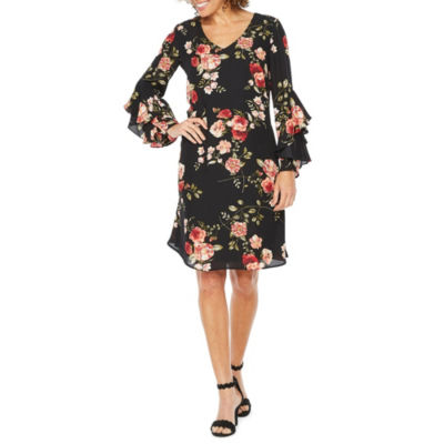 Robbie Bee Long Sleeve Floral A-Line Dress
