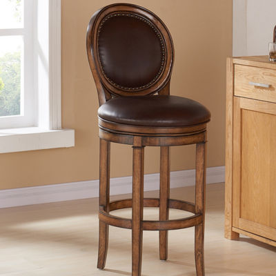 Armen Living Greece Swivel Wood Barstool in Faux Leather and Chestnut Finish