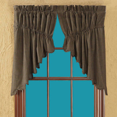 Primitive Window Kettle Grove Scalloped Plaid Prairie Swag Pair