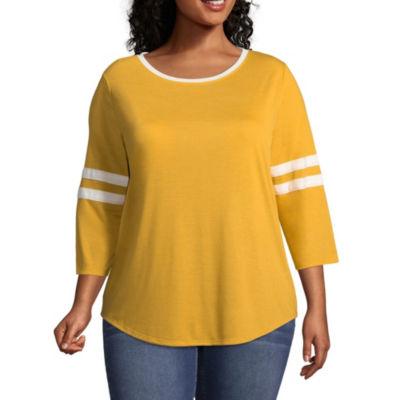 Arizona 3/4 Sleeve Round Neck T-Shirt-Womens Juniors Plus