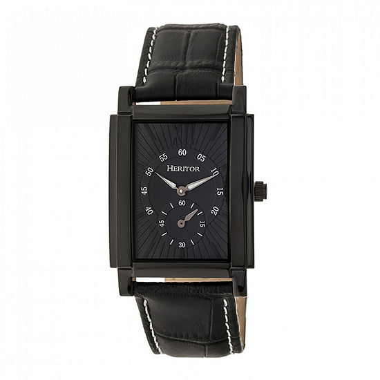 Heritor Frederick Mens Automatic Black Leather Strap Watch-Herhr6106