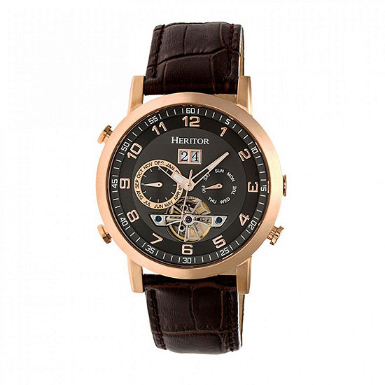 Heritor Edmond Mens Brown Automatic Strap Watch-Herhr6205