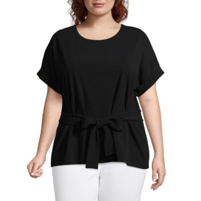 Worthington Short Sleeve Belted Knit Blouse- Plus