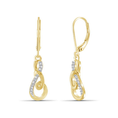 Diamond Accent White Diamond 14K Gold Over Brass Round Drop Earrings