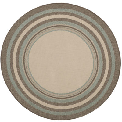 Safavieh Courtyard Collection Saxon Bordered Indoor/Outdoor Round Area Rug