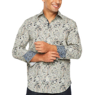 Society Of Threads Long Sleeve Paisley Button-Front Shirt