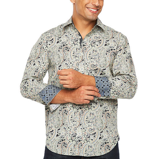 Society Of Threads Mens Long Sleeve Paisley Button-Front Shirt